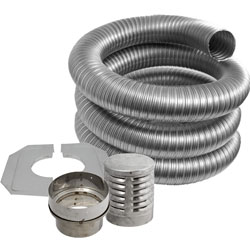 Fire Depot 15 Metre x 6 inch diameter GAS Flexible Flue Liner Kit