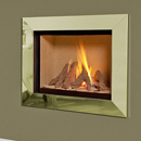 Verine Celena Wall Mounted Gas Fire Brass Trim Cream Interior